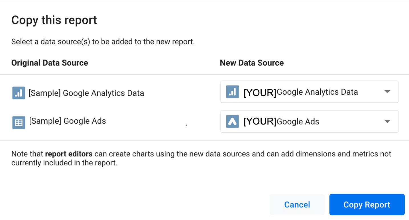 Connect data to datastudio